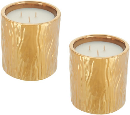 HomeWorx by Harry Slatkin Set of (2) 8-oz Faux Bois Ceramic Candles