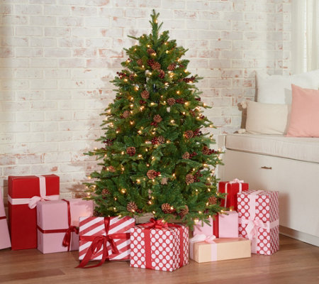 Living Christmas Tree.Scott Living 5 Berry And Piencone Christmas Tree Qvc Com