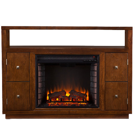 Kennedy Media Console/Stand Electric Fireplace,Brown