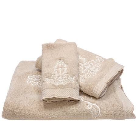 Lenox French Perle 3-Piece Embroidered Towel Set