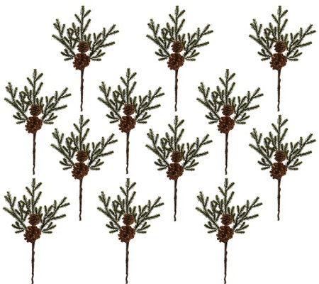 "Set of (12) 19"" Pine & Pinecone Flowers by Nearly Natural"