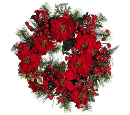 "24"" Poinsettia Wreath by Nearly Natural"