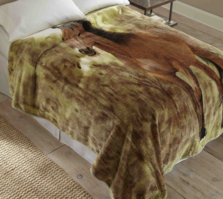 Shavel Hi Pile 90x90 Luxury Coverlet Horse