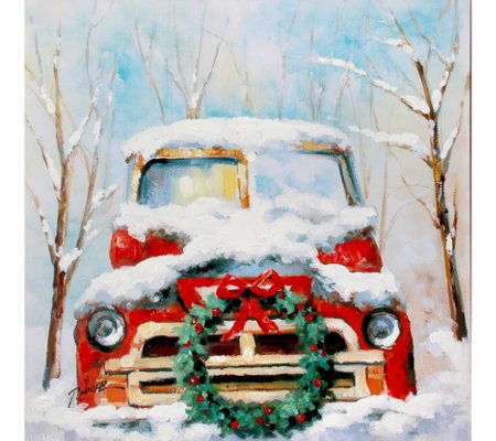 "Country Truck with Holly Wreath Painting 25""X25"" by Valerie"