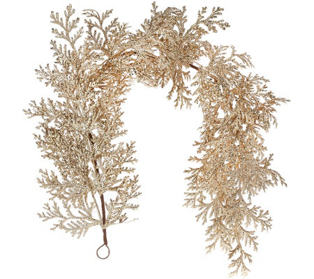 4' Glittered Leaf and Cedar Garland
