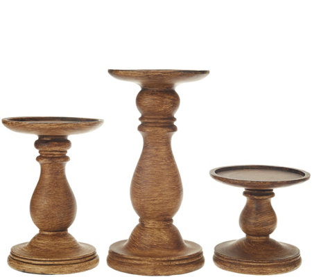 """As Is"" Set of 3 Graduated Candle Holder Pedestals by Valerie"