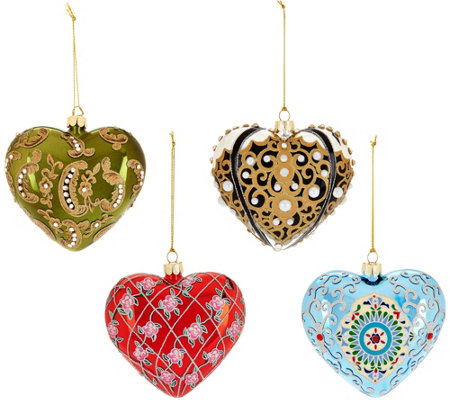 """As Is"" Joan Rivers 2016 Set of 4 Russian Inspired Heart Ornaments"
