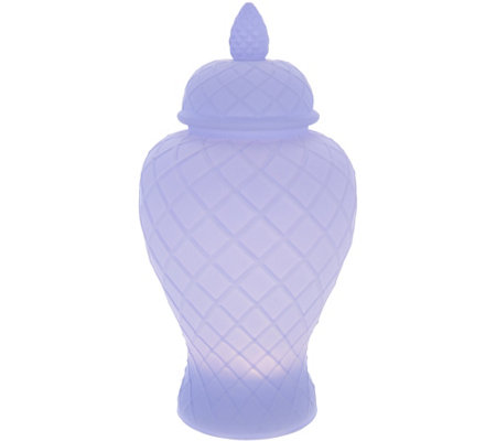 Illuminated Satin Glass Lattice Urn by Valerie
