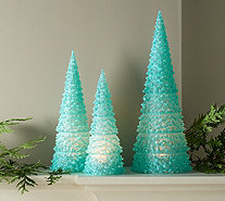 Set of 3 Illuminated Acrylic Glitter Trees by Valerie - H216562