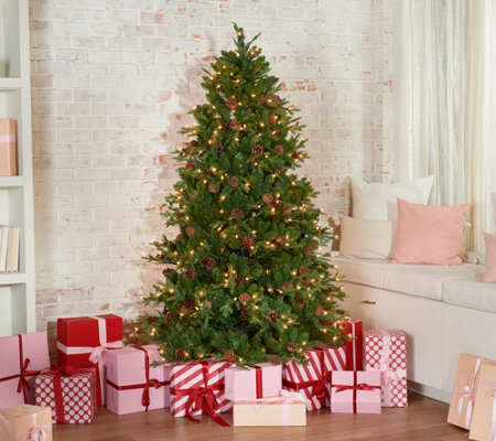 Living Christmas Tree.Scott Living 6 5 Berry And Pinecone Christmas Tree Qvc Com