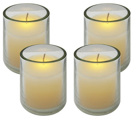 Set of 4 Frosted Glass Votives by Brite Star