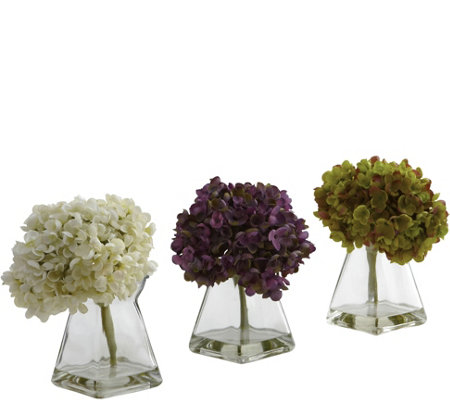 Set of 3 Hydrangeas in Vases by Nearly Natural