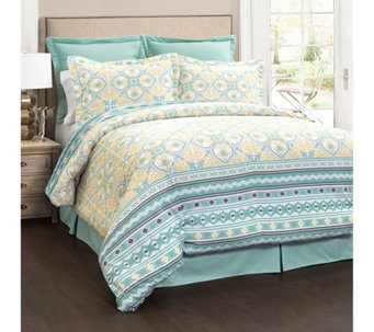 Carlene 6 Piece Blue Full Queen Comforter Set By Lush Decor H292562