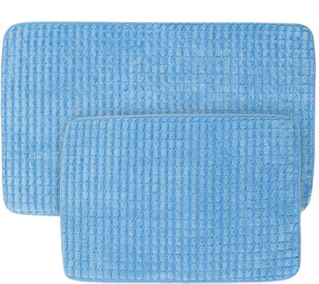 Lavish Home 2-Piece Memory Foam Woven Jacquard Bath Mat Set