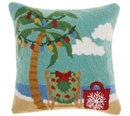 "Mina Victory X-Mas Palm Tree Multicolor 18"" x 18"" Throw Pillow"