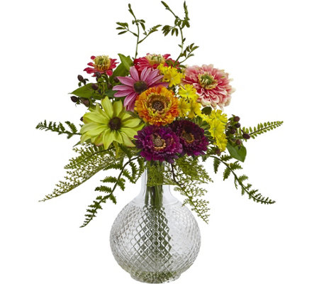 Mixed Flower In Glass Vase By Nearly Natural