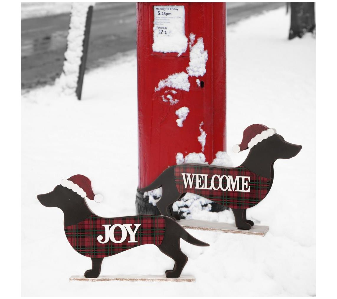 Glitzhome Christmas Perfectly Mannered Dachshund Welcome Sign Qvc Com