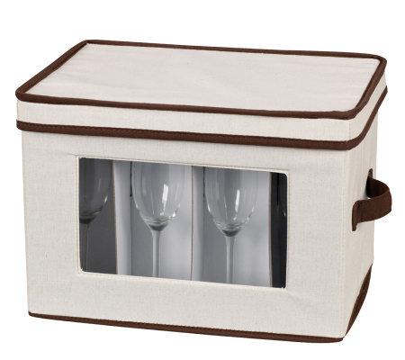 Household Essentials Flute Storage Stemware Chest/Canvas