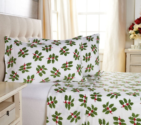 Malden Mills Polarfleece Full Holiday Print and Solid Sheet Set