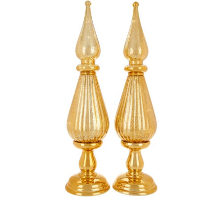 """As Is"" Set of 2 Illuminated Mercury Finish 18"" Finials by Valerie"