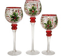 Set of 3 Handpainted Holiday Goblets with Tealights by Valerie - H216563