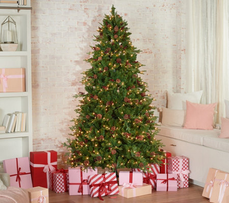 Living Christmas Tree.Scott Living 7 5 Berry And Pinecone Christmas Tree Qvc Com
