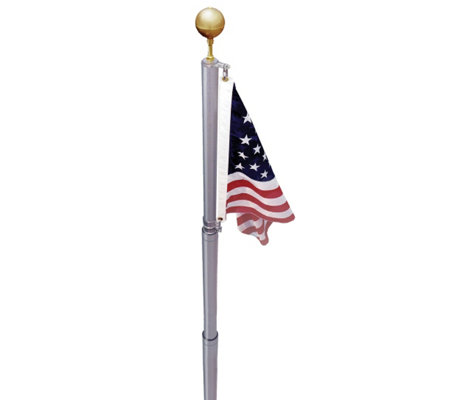 Annin American Flag and In-Ground Telescoping Flagpole Set