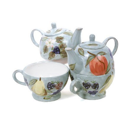 Set Of Two Handpainted Tea For Fruit Teapots By Valerie