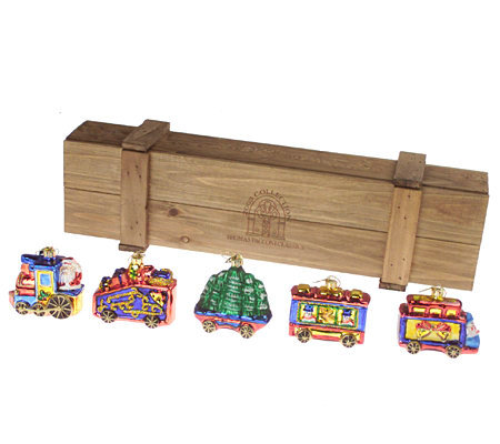 Thomas The Train Christmas Set.Thomas Pacconi 5pc Blown Glass Christmas Train Ornament Set With Wooden Box Qvc Com