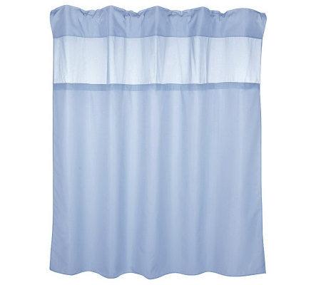 Hookless Hidden Ring Fabric Shower Curtain w/2 Vinyl Liners — QVC.com