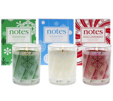 NOTES 9oz. Holiday Candles w/ Gift boxes by NEST Home Fragrance