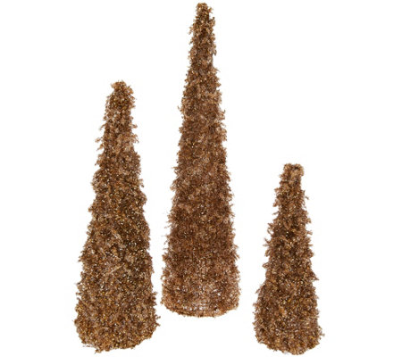 Set of 3 Graduated Glistening Iced Crystal Trees