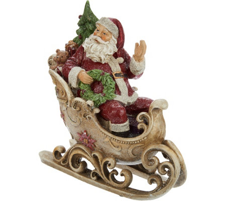Glittered Cheerful Santa In Sleigh With Scroll Accents By Valerie