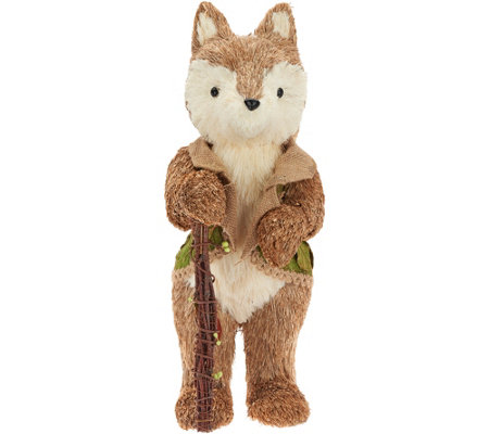 "18"" Sisal Fox Figurine with Green Vest & Walking Stick by Valerie"