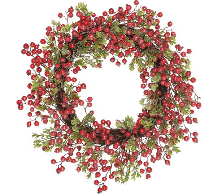 "24"" Glistening Boxwood and Red Berry Wreath by Valerie"