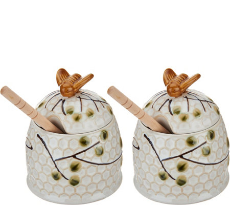 Set of 2 Beehive Honey Pots by Valerie