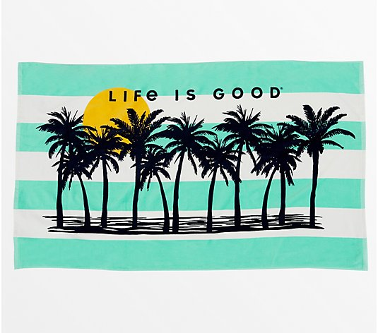 Life Is Good Oversized Printed Novelty Beach Towel by Berkshire