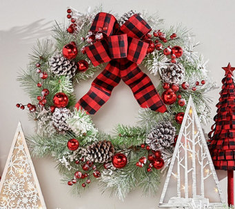 """24"""" Snowy Pinecone, Ornament and Berry Wreath by Valerie - H223264"""