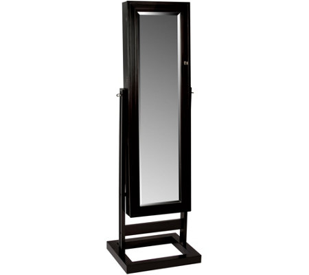 Mele & Co. Verona Mirrored Jewelry Armoire in Java Finish