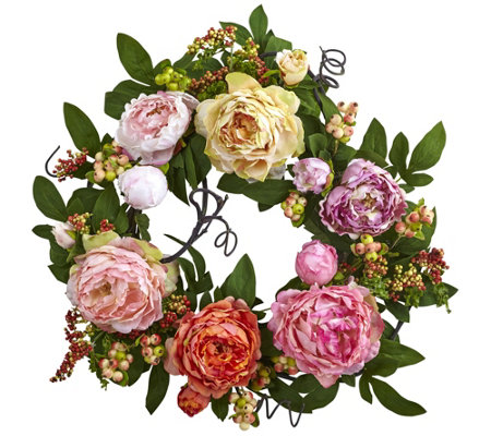 20'' Mixed Peony & Berry Wreath by Nearly Natural