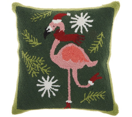 "Mina Victory Xmas Flamingo Multicolor 18"" x 18""Throw Pillow"