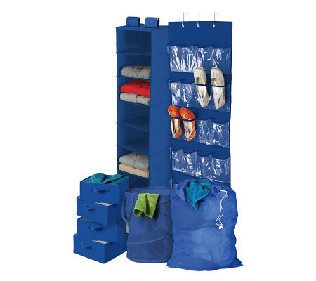 Honey-Can-Do 8-Piece Room and Laundry Organizer- Blue