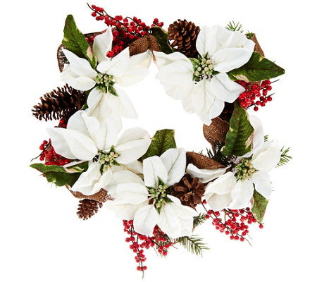 Poinsettia and Berry Wreath or Garland by Valerie