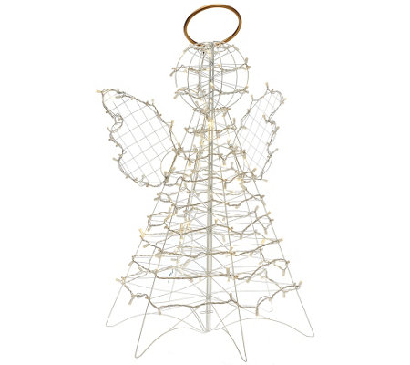 3' Fold Flat Outdoor LED Snowman or Angel by Lori Greiner