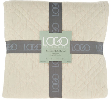 LOGO by Lori Goldstein Stone Washed Quilted King Coverlet