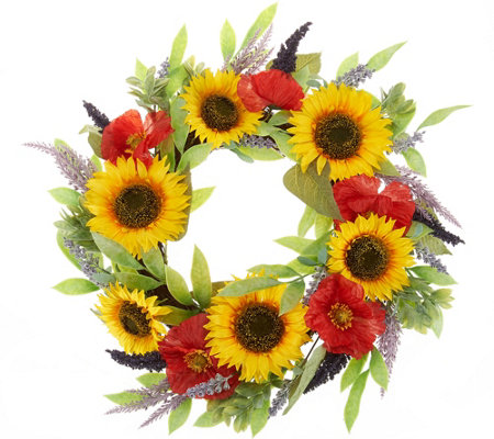 22 Sunflower Poppy And Lavender Wreath By Valerie