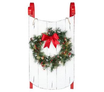 Scott Living 34 Decorative Sled With Illuminated Wreath H214065