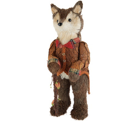 "20"" Fox Figurine with Orange Jacket & Walking Stick by Valerie"