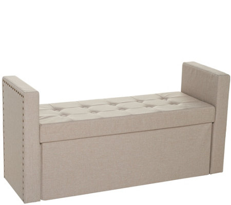 "Inspire Me! Home Decor 45"" Collapsible Storage Bench with Arms"