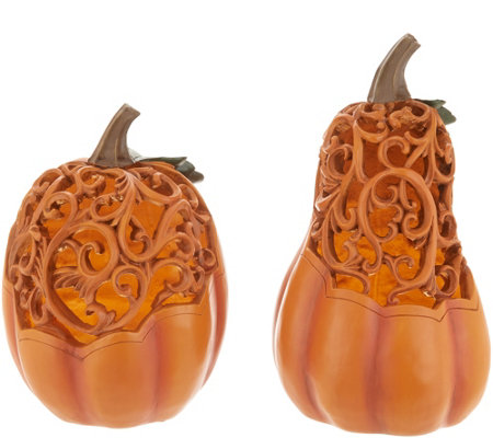 Illuminated Carved Pumpkin and Gourd Set with Timers by Valerie